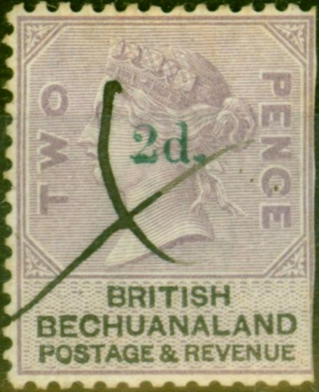 Rare Postage Stamp from Bechuanaland 1888 2d on 2d Lilac & Black SG23c Surch in Green Good Used Very Rare CV £4000