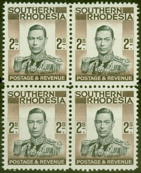 Valuable Postage Stamp from Southern Rhodesia 1937 2s Black & Brown SG50 V.F MNH & VLMM Block of 4