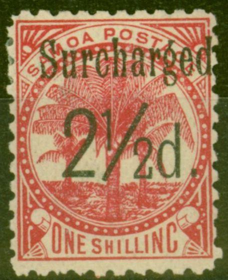 Rare Postage Stamp from Samoa 1898 2 1/2d on 1s Dull Rose-Carmine SG86 Fine Mtd Mint (12)