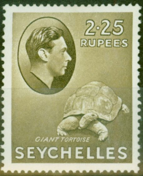 Rare Postage Stamp from Seychelles 1938 2R25 Olive SG148 Fine Mtd Mint