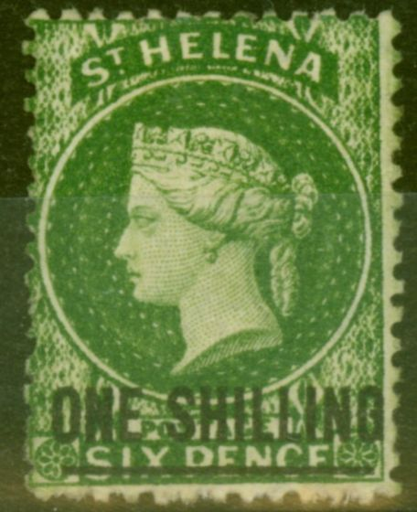 Rare Postage Stamp from St Helena 1864 1s Dp Yellow-Green SG17 Fine & Fresh Mtd Mint