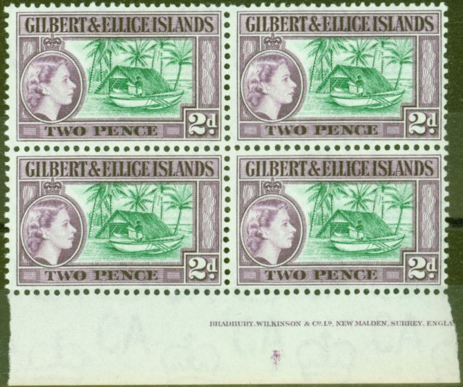 Old Postage Stamp from Gilbert & Ellice Is 1962 2d Bluish Green & Purple SG66a V.F MNH Imprint Block of 4