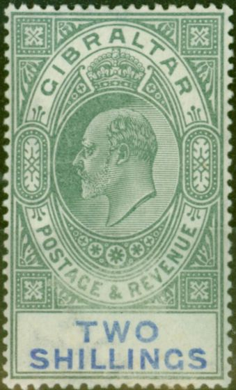 Valuable Postage Stamp from Gibraltar 1903 2s Green & Blue SG52 Fine & Fresh Lightly Mtd Mint (3)