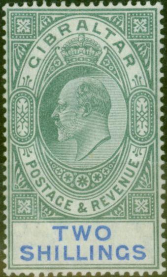 Valuable Postage Stamp from Gibraltar 1903 2s Green & Blue SG52 Fine & Fresh Lightly Mtd Mint (4)