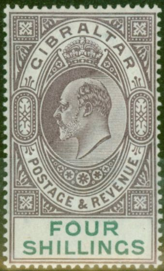 Old Postage Stamp from Gibraltar 1903 4s Dull Purple & Green SG53 Fine & Fresh Lightly Mtd Mint (7)
