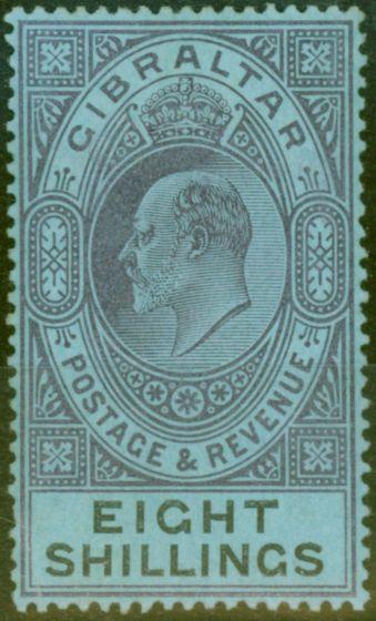 Valuable Postage Stamp from Gibraltar 1903 8s Dull Purple & Black-Blue SG54 Fine & Fresh Lightly Mtd Mint (16)