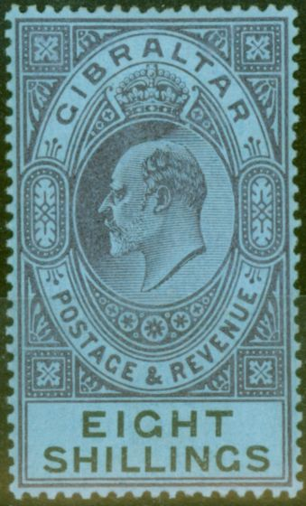 Collectible Postage Stamp from Gibraltar 1903 8s Dull Purple & Black-Blue SG54 Fine & Fresh Lightly Mtd Mint (17)