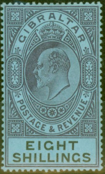 Collectible Postage Stamp from Gibraltar 1903 8s Dull Purple & Black-Blue SG54 Fine & Fresh Lightly Mtd Mint (18)