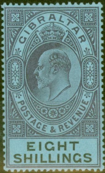 Valuable Postage Stamp from Gibraltar 1903 8s Dull Purple & Black-Blue SG54 Fine & Fresh Lightly Mtd Mint (19)