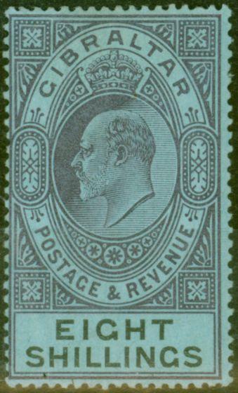 Old Postage Stamp from Gibraltar 1903 8s Dull Purple & Black-Blue SG54 Fine & Fresh Lightly Mtd Mint (4)