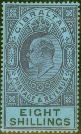 Collectible Postage Stamp from Gibraltar 1903 8s Dull Purple & Black-Blue SG54 Fine & Fresh Lightly Mtd Mint (5)