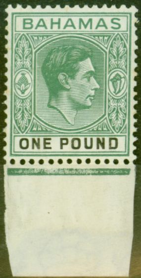 Rare Postage Stamp from Bahamas 1938 £1 Dp Grey-Green & Black SG157 Thick Paper Fine Lightly Mtd Mint