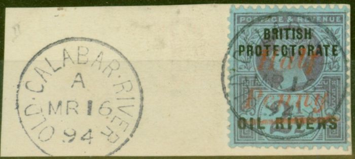 Collectible Postage Stamp from Oil Rivers 1893 1/2d on 2 1/2d SG25 Superb Used on Piece OLD CALABAR RIVER CDS