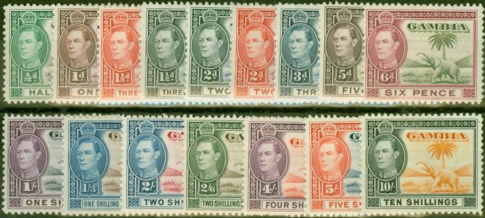 Collectible Postage Stamp from Gambia 1938-46 set of 16 SG150-161 Fine Very Lightly Mtd Mint