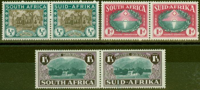 Old Postage Stamp from South Africa 1939 Huguenot set of 3 SG82-84 V.F Lightly Mtd MInt