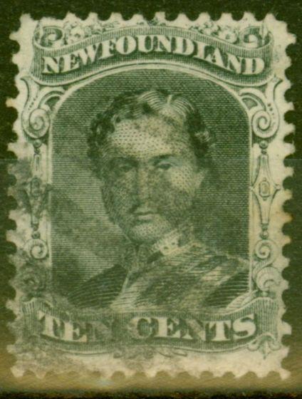 Old Postage Stamp from Newfoundland 1865 10c Black SG27 Fine Used