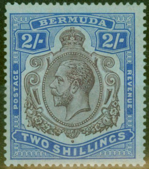 Old Postage Stamp from Bermuda 1920 2s Purple & Blue-Blue SG51ba Break in Scroll HPF 12b Fine Lightly Mtd Mint