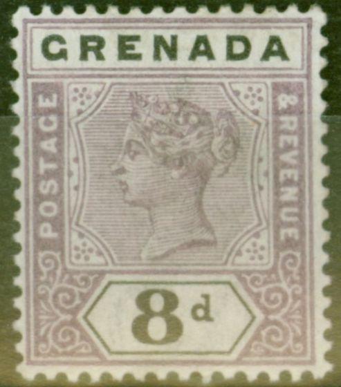 Rare Postage Stamp from Grenada 1895 8d Mauve & Black SG54 Fine Lightly Mtd Mint