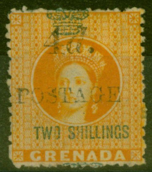 Rare Postage Stamp from Grenada 1888 4d on 2s Orange SG41 Fine & Fresh Mtd Mint