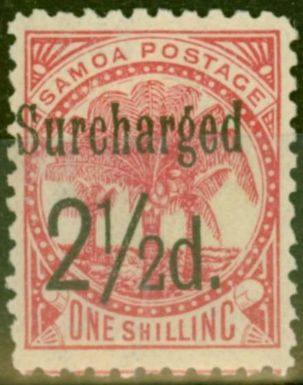 Rare Postage Stamp from Samoa 1898 2 1/2d on 1s Dull Rose-Carmine SG86 Fine Mtd Mint (19)