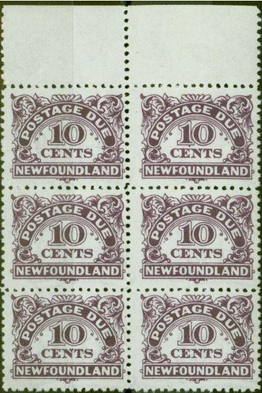 Old Postage Stamp from Newfoundland 1939 10c Violet SGD6 V.F MNH Block of 6