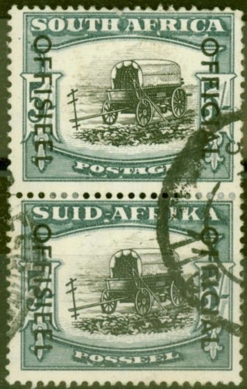 Collectible Postage Stamp from South Africa 1951 5s Black & Blue-Green SG049 Good Used Vert Pair
