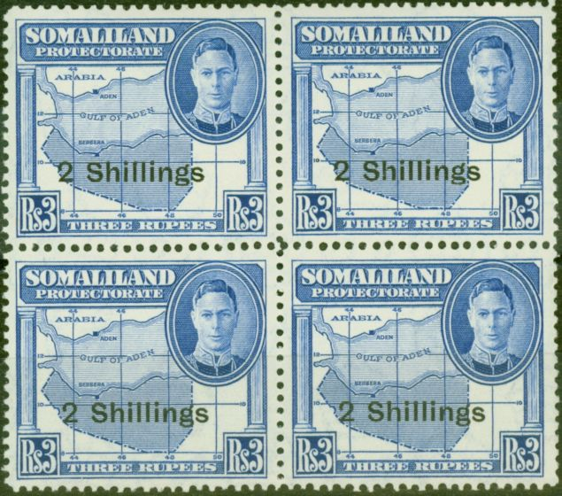 Valuable Postage Stamp from Somaliland 1951 2s on 3R Brt Blue SG134 V.F MNH Block of 4