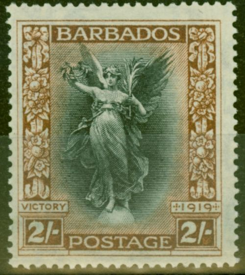 Old Postage Stamp from Barbados 1920 2s Black & Brown SG210w Crown to Left of CA Fine Very Lightly Mtd Mint