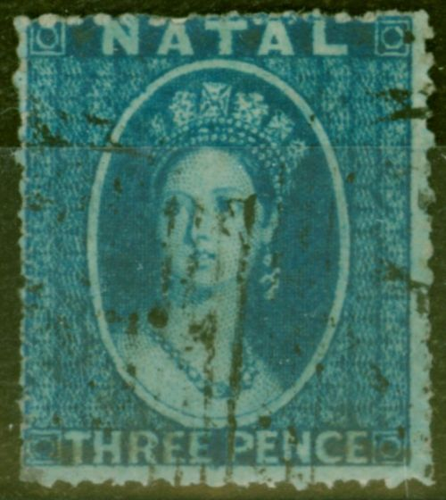 Rare Postage Stamp from Natal 1861 3d Blue SG11 Fine Used