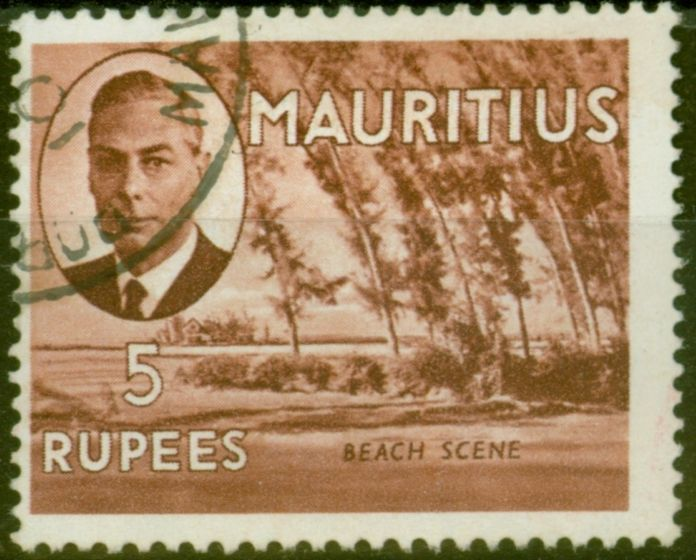 Valuable Postage Stamp from Mauritius 1950 5R Red-Brown SG289 Fine Used