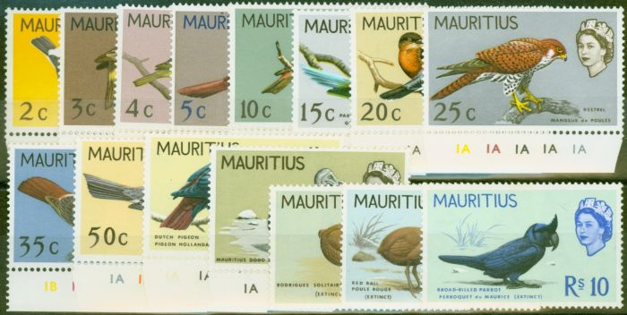 Valuable Postage Stamp from Mauritius 1967 Birds set of 15 SG349-363 V.F MNH & LMM