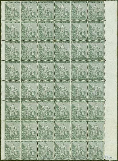 Rare Postage Stamp from Cape of Good Hope 1875 1/2d Grey-Black SG28 Superb MNH Marginal Block of 48