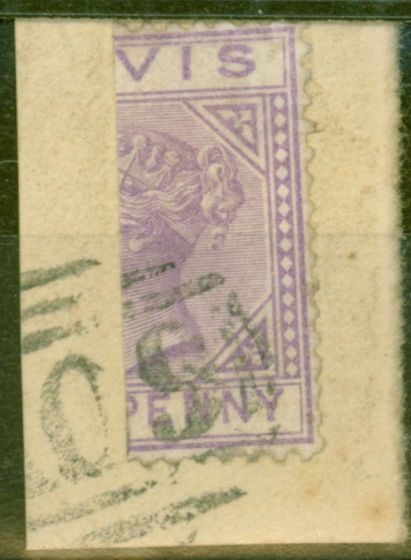 Old Postage Stamp from Nevis 1880 1d Lilac-Maive SG23a Bisected on Piece Fine Used Scarce