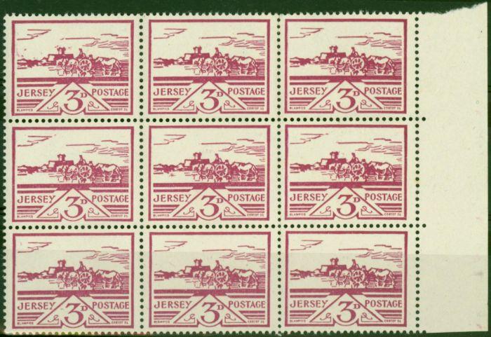 Jersey 1943 3d Violet SG8 Fine MNH Block of 9