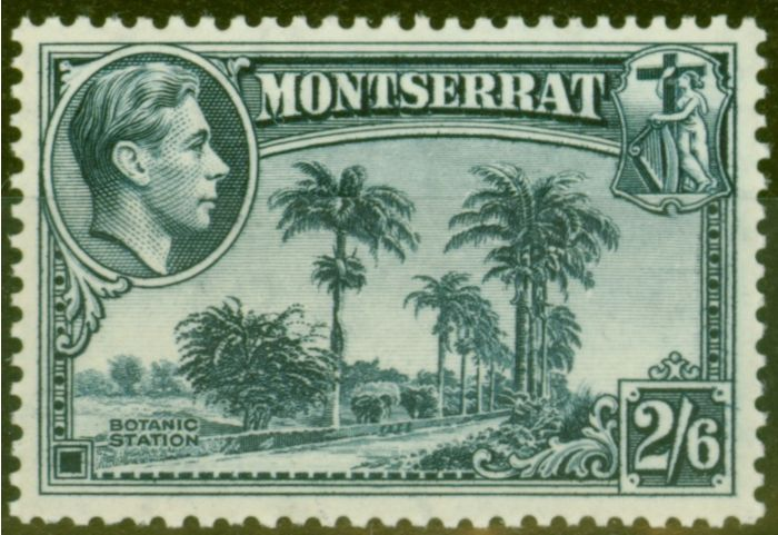 Old Postage Stamp from Montserrat 1938 2s6d Slate-Blue SG109 V.F MNH
