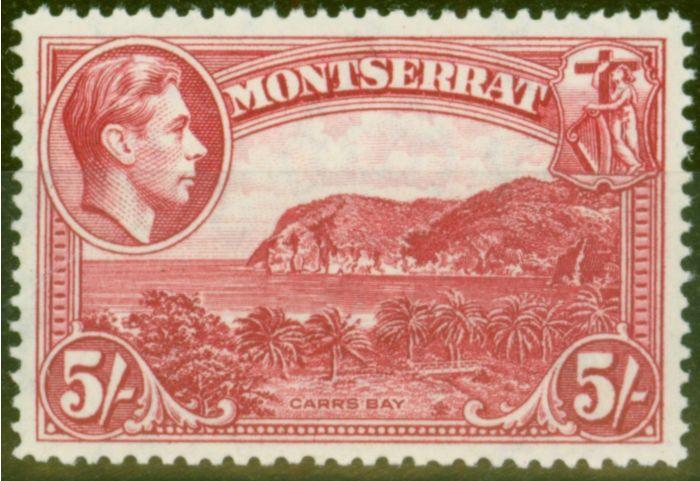 Rare Postage Stamp from Montserrat 1942 5s Rose-Carmine SG110a P.14 V.F MNH