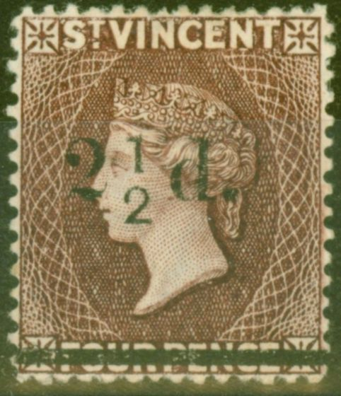 Valuable Postage Stamp from St Vincent 1890 2 1/2d on 4d Chocolate SG54a No Fraction Bar Fine Mint Scarce