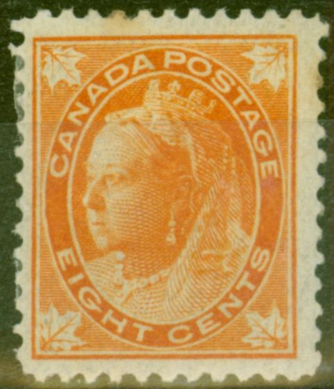 Rare Postage Stamp from Canada 1897 8c Orange SG148 Good Mtd Mint