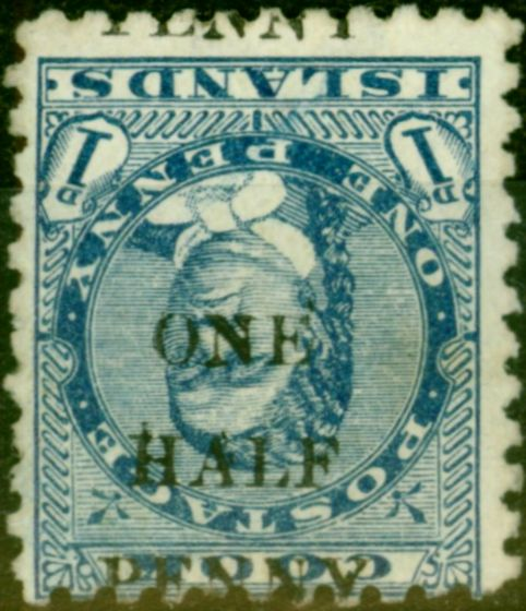 Collectible Postage Stamp from Cook Islands 1899 1/2d on 1d Blue SG21a Surch Inverted Fine MM Scarce