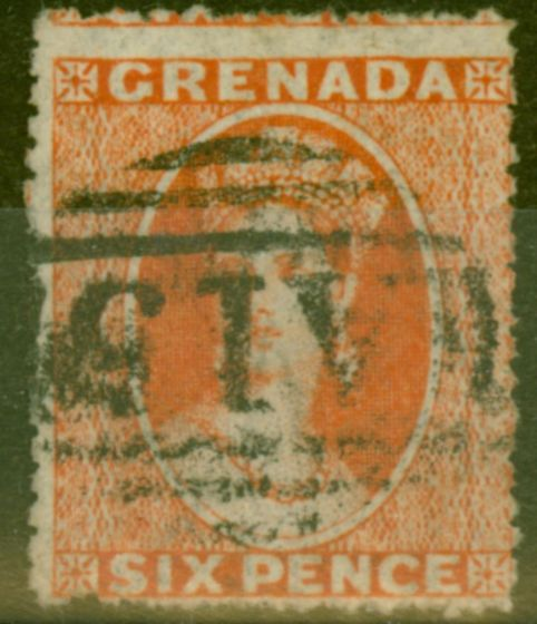 Valuable Postage Stamp from Grenada 1866 6d Orange-Red SG7 Fine Used.