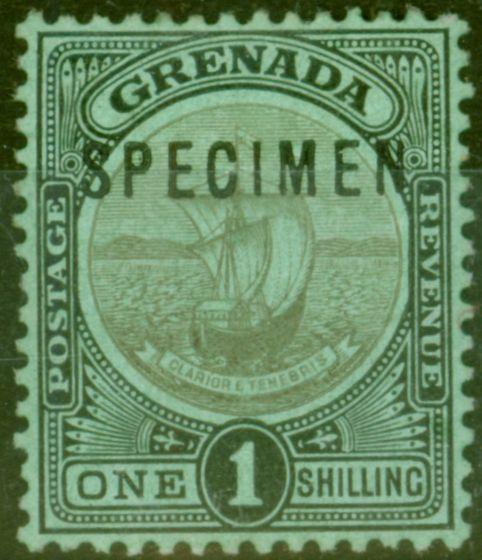 Old Postage Stamp from Grenada 1911 1s Black-Green Specimen SG26s Fine Lightly Mtd Mint
