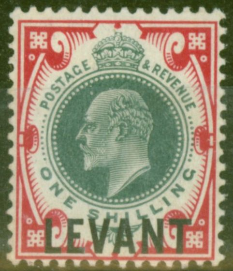 Collectible Postage Stamp from British Levant 1905 1s Dull Green & Carmine SGL10a Chalk Paper Fine & Fresh LMM