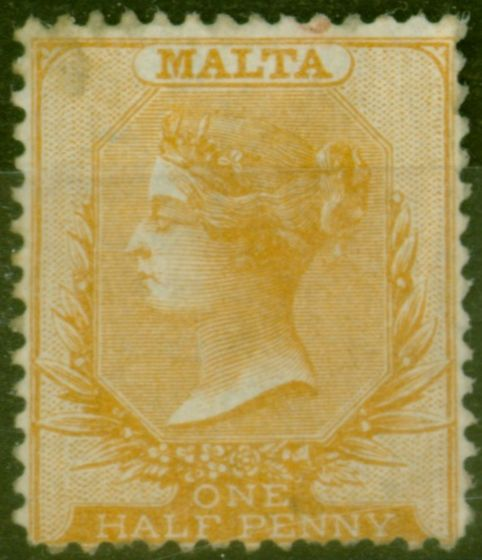 Old Postage Stamp from Malta 1870 1/2d Dull Orange SG7 Ave Mtd Mint