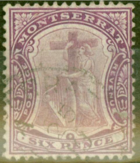 Rare Postage Stamp from Montserrat 1909 6d Dull & Brt Purple SG43 Fine Used