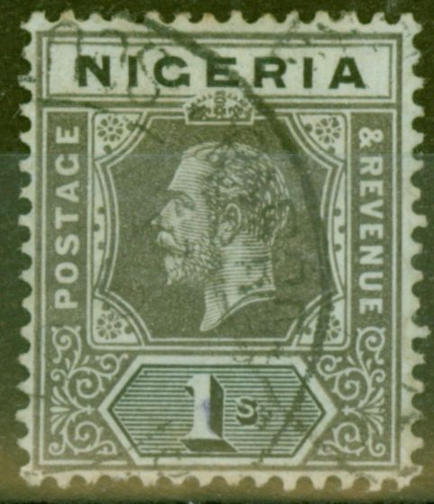 Collectible Postage Stamp from Nigeria 1917 1s Pale Olive Back SG8d V.F.U