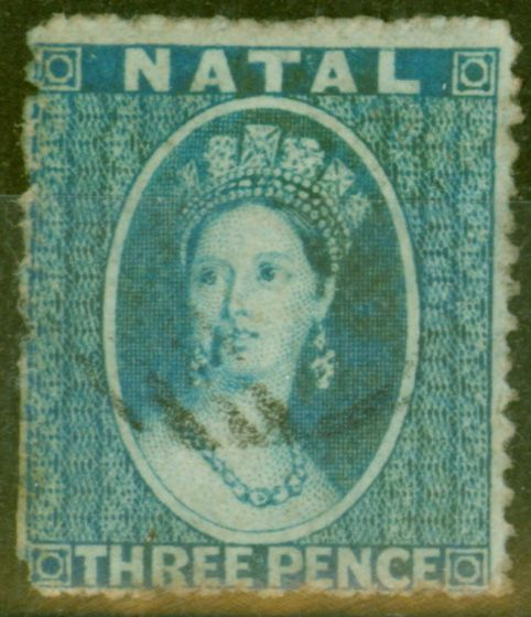 Collectible Postage Stamp from Natal 1859 3d Blue SG10 P.14 Fine Used