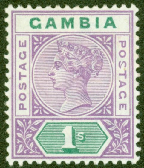 Old Postage Stamp from Gambia 1898 1s Violet & Green SG44a Malformed S V.F Lightly Mtd Mint Choice Rare