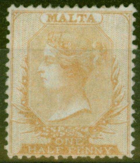 Rare Postage Stamp from Malta 1861 1/2d Buff SG3 Fine & Fresh Lightly Mtd MInt Ex-Sir Ron Brierley