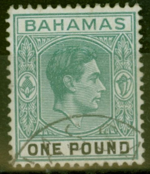 Collectible Postage Stamp from Bahamas 1944 £1 Grey-Green & Black SG157b V.F.U
