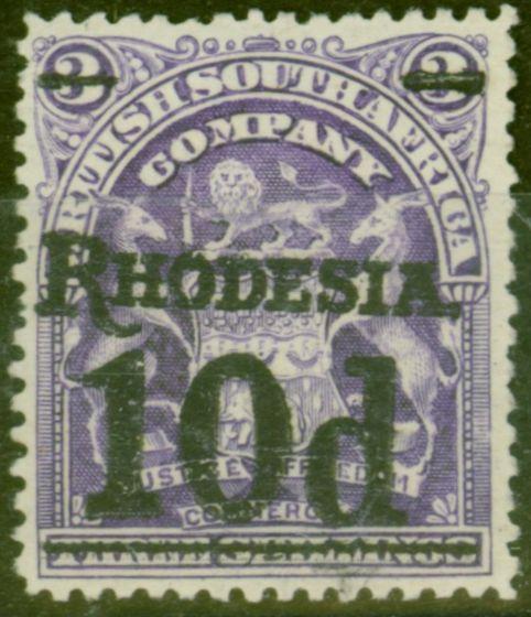 Old Postage Stamp from Rhodesia 1909 10d on 3s Dp Violet SG117 Fine Mtd Mint